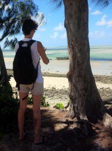 turista na praia